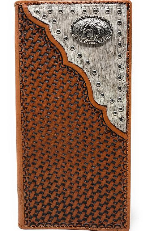 Western Genuine Leather Cowhide Cow fur Basketweave Horse Men's Long Bifold Wall