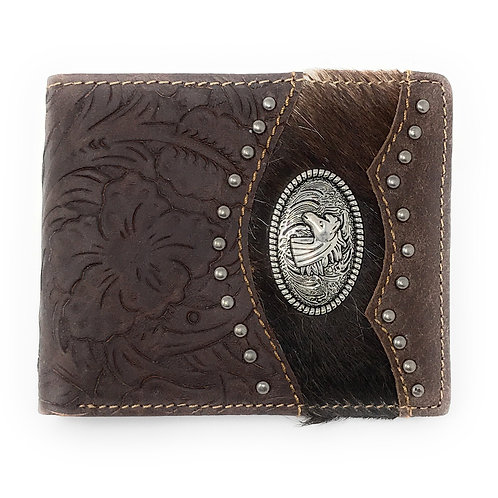Western Genuine Tooled Leather Cowhide Cow Fur Horse Mens Bifold Short Wallet