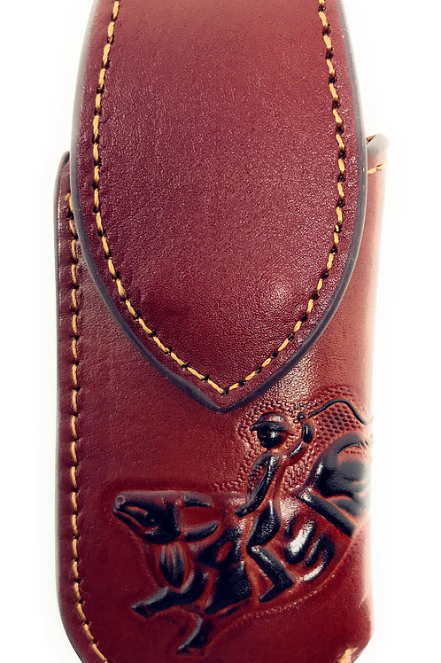 Western Genuine Leather Rodeo Embroidery Folding Knife Holster in Multi Size