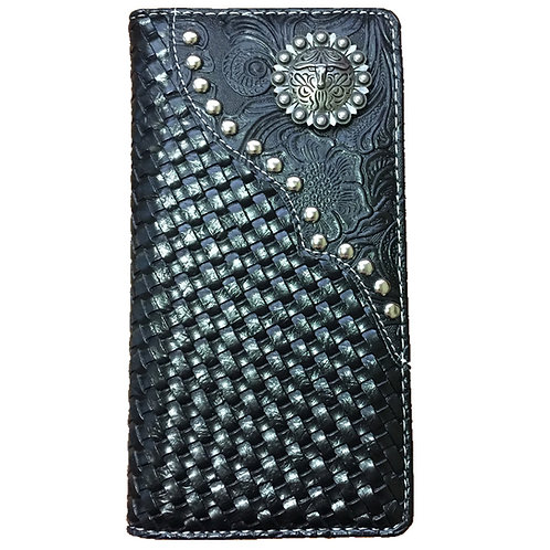 Longhorn Men's  Hand-knitted Concho Leather Wallet. Extra Checkbook. Black