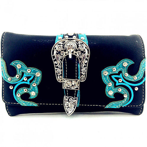 Premium Rhinestone Womens Buckle Wallet In Black