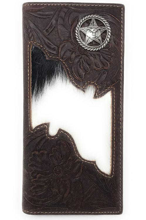 Premium Men's Cow Fur Cowhide Chrome Star Genuine Leather Bifold Wallet
