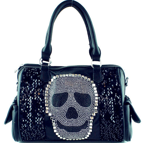 Texas West Premium Rhinestone Studded Skull Bling Boston Bag
