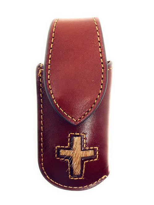 Western Genuine Leather Cross Embroidery Folding Knife Holster in Multi Size