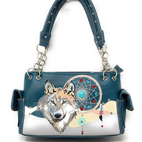 Western Wolf Dream Catcher Embroidery Feather Conceal Carry Women Handbag