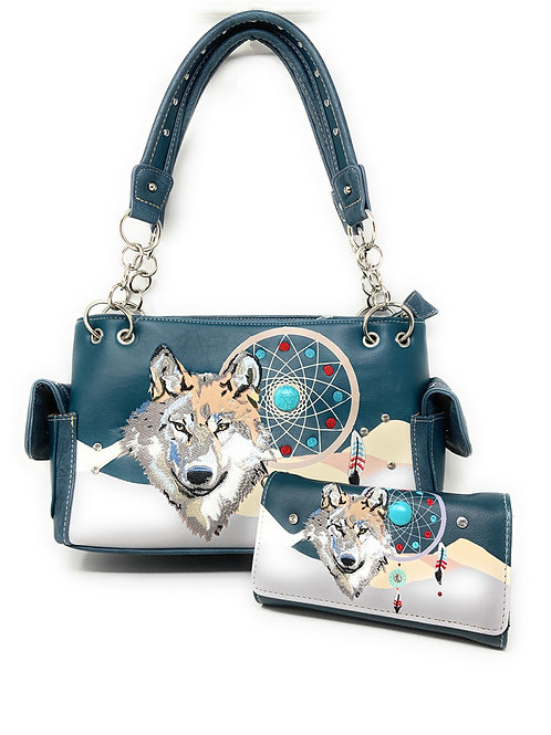 Western Wolf Dream Catcher Embroidery Feather Conceal Carry Women Handbag Set