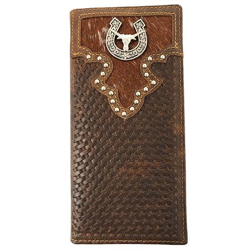 Cow Fur Tooled Genuine Leather Basketweave Longhorn Star Mens Bifold Wallet