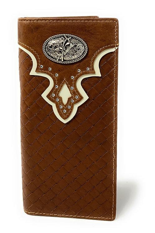 Genuine Leather Basketweave Rodeo Metal Concho Mens Long Bifold Wallet