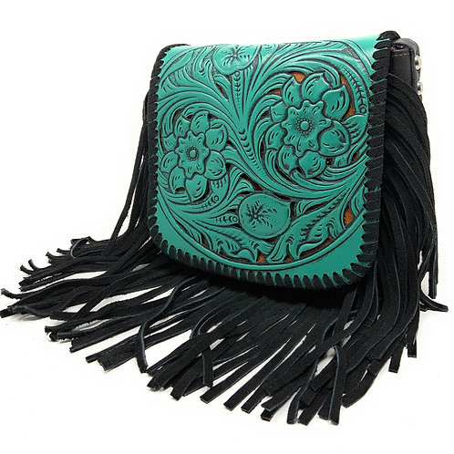 Western Genuine Leather Cowgirl Crossbody Messenger Fringe Laser Cut Purse Bag