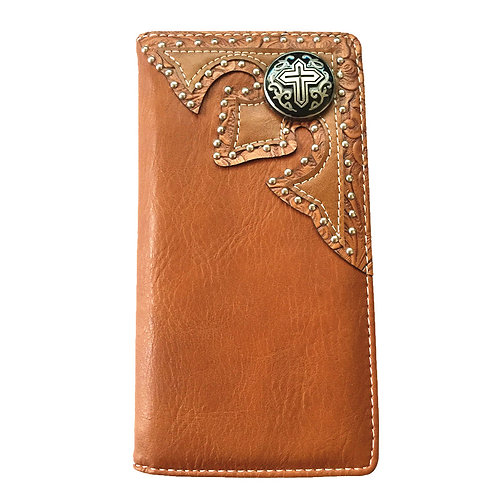 Men's Collection Cross Concho Soft Leather Bifold Wallet, Extra Checkbook. Brown