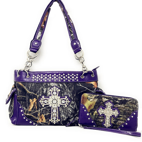 Premium Rhinestone Western Camouflage Cross Womens Shoulder Handbag Purse/Match
