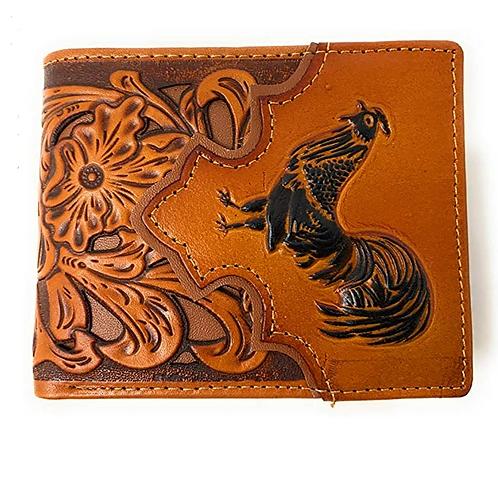 Men's Leather Rooster Floral Tooled Laser Cut Lone Star Short Wallet