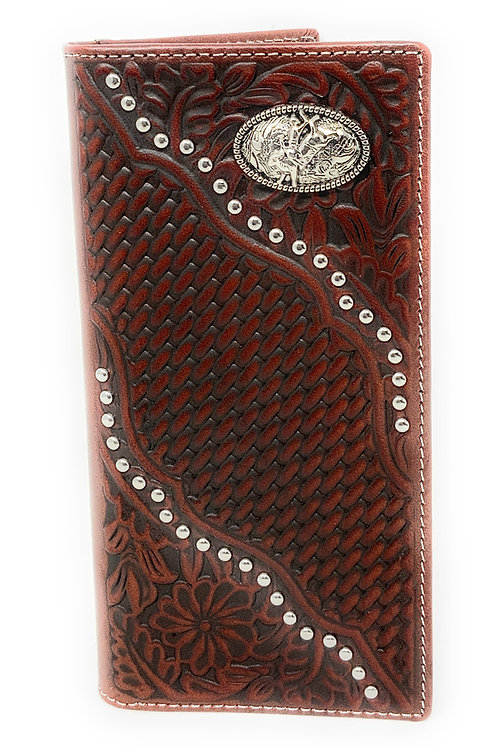 Premium Genuine Leather Western Men's Embossed Floral Tooled Basketweave Cowboy