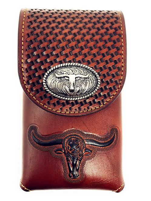 Western Cowboy Tooled Basketweave Leather Longhorn Concho Belt Cellphone Case