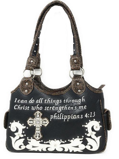 Texas West Concealed Carry Bible Verse Rhinestone Cross Flora Cowgirl Handbag