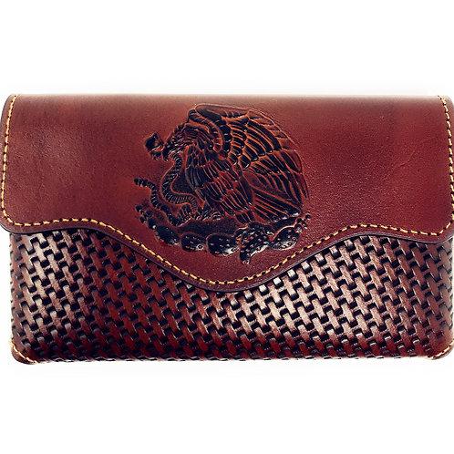 Western Cowboy Horizontal Basketweave Leather Eagle Cellphone Belt Holster Case