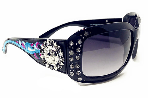 Floral Sunflower Concho Sunglasses With Rhinestone UV400 PC Lens