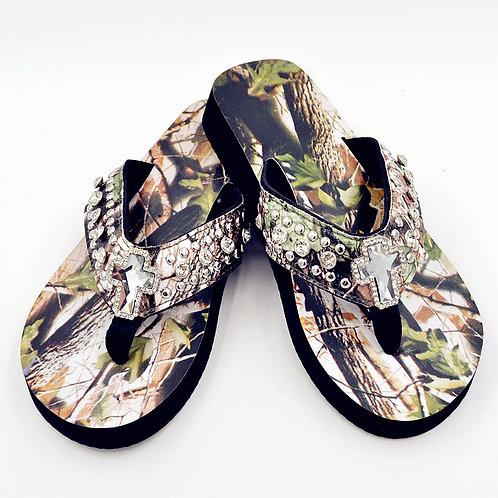 Premium Rhinestone Camouflage Spiritual Cross Flip Flops