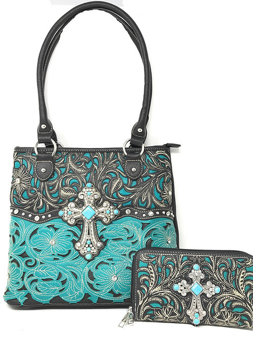 Floral Leaf Stitched Embroidered Rhinestone Cross Womens Conceal Carry Bag Set