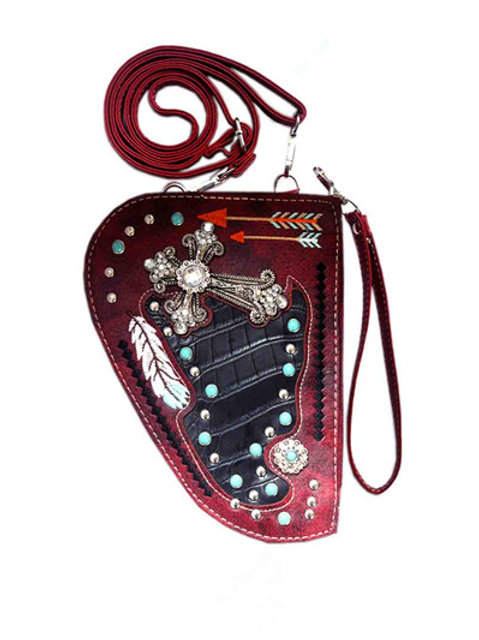 Western Rhinestone Concho Cross Women Crossbody Pistol Bag Pouch Wallet