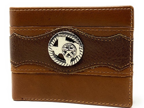 Texas West Tooled Texas State Map Genuine Glossy Leather Men's Wallet in 3 Color
