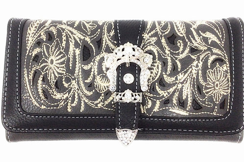 Embroidery Floral Bling Rhinestone Buckle Trifold Wallet In Multi Color
