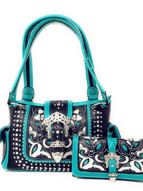 Texas West Premium Western Buckle Embroidery Conceal Carry Handbag / Wallet Set