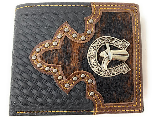 Western Genuine Woven Leather Cowhide Mens Bifold Short Wallet in Multi Emblem