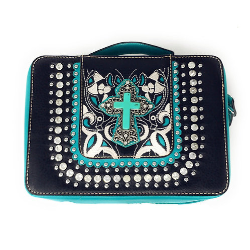Western Embroidered Rhinestone Agate Cross Cut Out Bible Cover Book Case