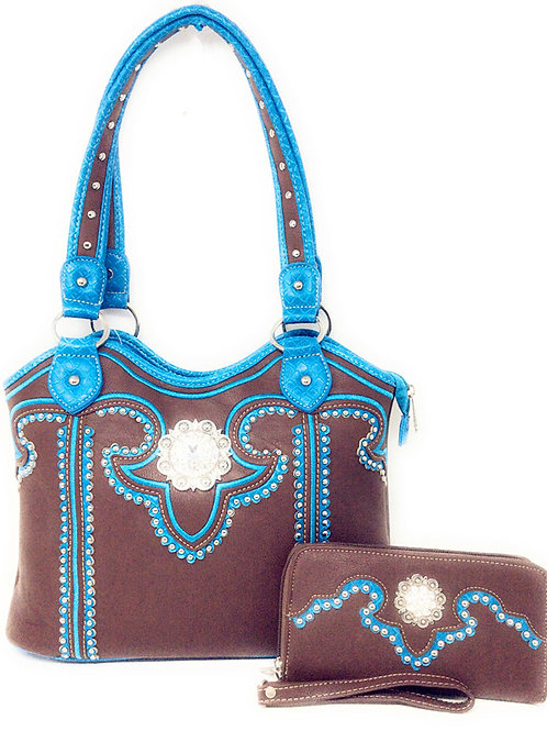 Cowgirl Rhinestone Concho Concealed Carry Tote Bag / Wallet Set in Multi Colros