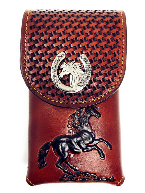 Western Cowboy Tooled Basketweave Leather Horse Concho Belt Loop Cellphone Case