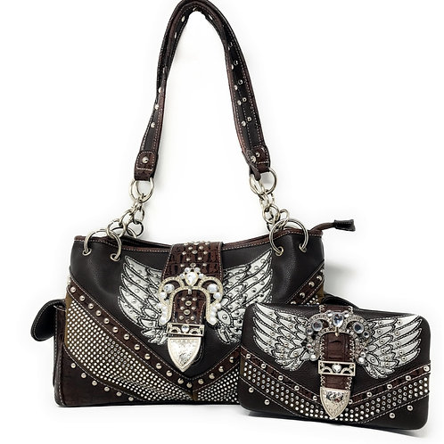 Premium Western Rhinestone Studded Angel Wing Buckle Shoulder Handbag/Wallet Set