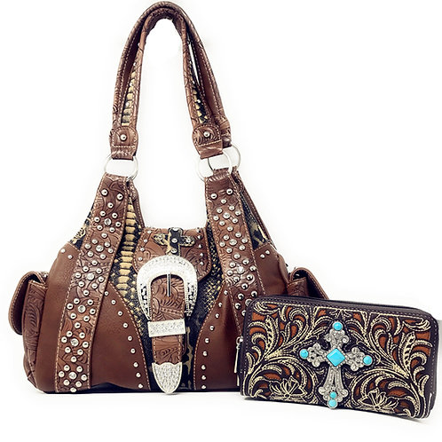 Western Rhinestone Cross Buclke Handbag Purse with Magnetic Closure / Wallet