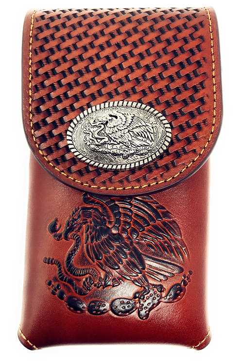 Western Cowboy Tooled Basketweave Leather Eagle Concho Belt Loop Cellphone Case