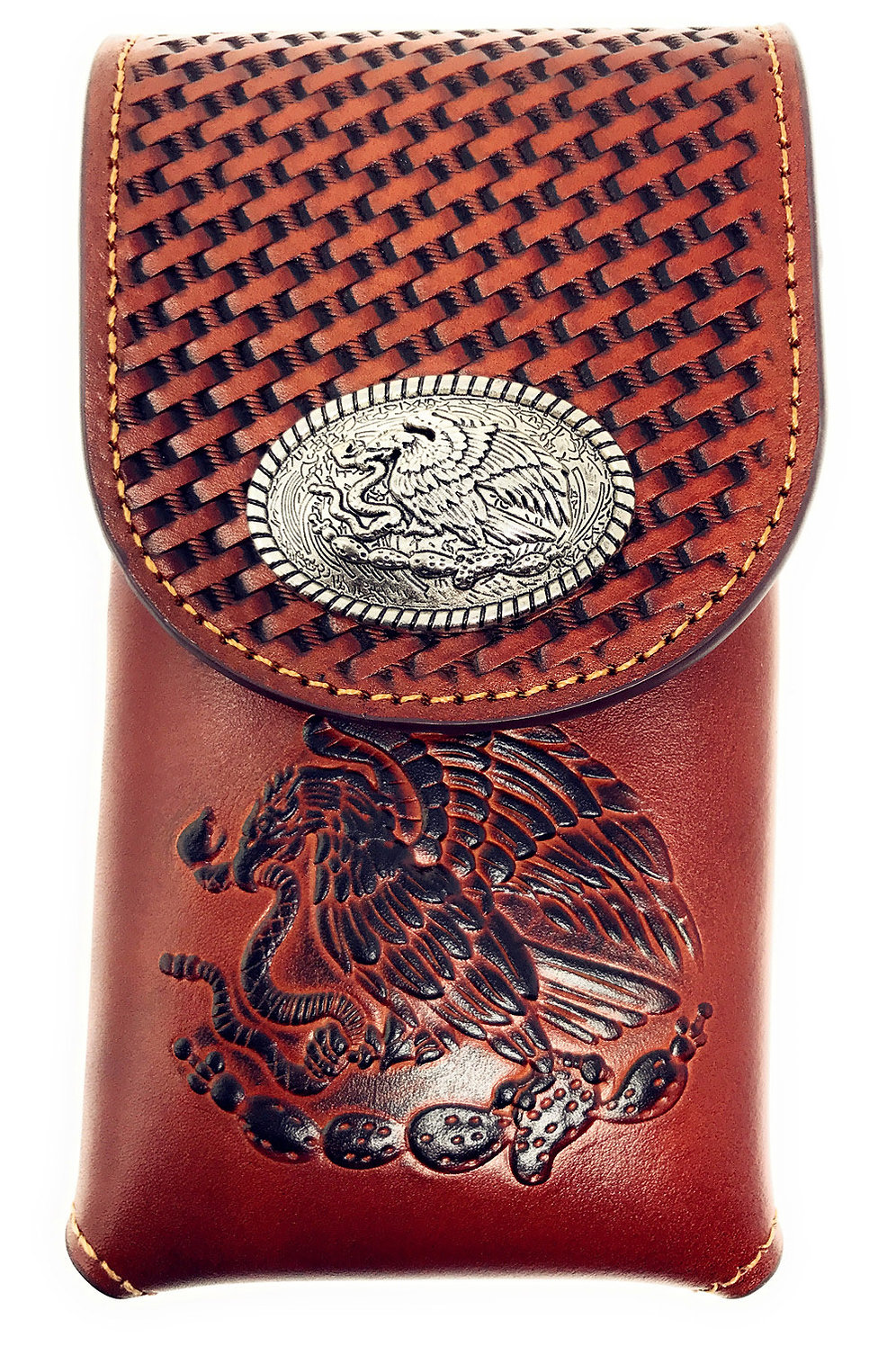 official photos 76440 f2dcc Western Cowboy Tooled Basketweave Leather Eagle Concho Belt Loop Cellphone  Case   Texas West