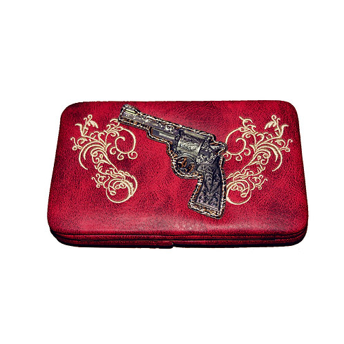 Texas West Rhinestone Pistol Embroidery Leather Clip Womens Wallet in 6 Colors