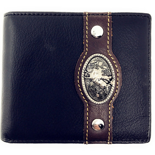 Western Genuine Leather Mens Metal Concho Rodeo Bifold Short Wallet/Multi Color