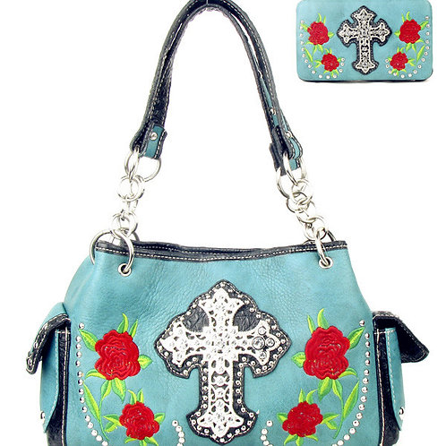 Rhinestone Cross Rose Flower Embroidery Shoulder Handbag Purse / Matching Wallet