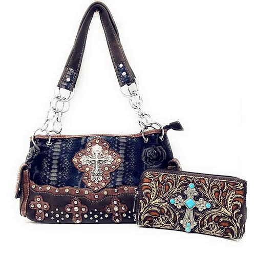 Stylish Rhinestone Studded Cross Flower Suede Leather Shoulder Handbag/ Wallet