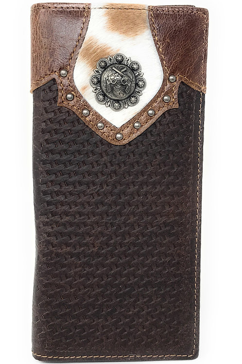 Texas West Men's Cow Fur Cowhide Genuine Leather Pistol Basketweave Bifold Walle