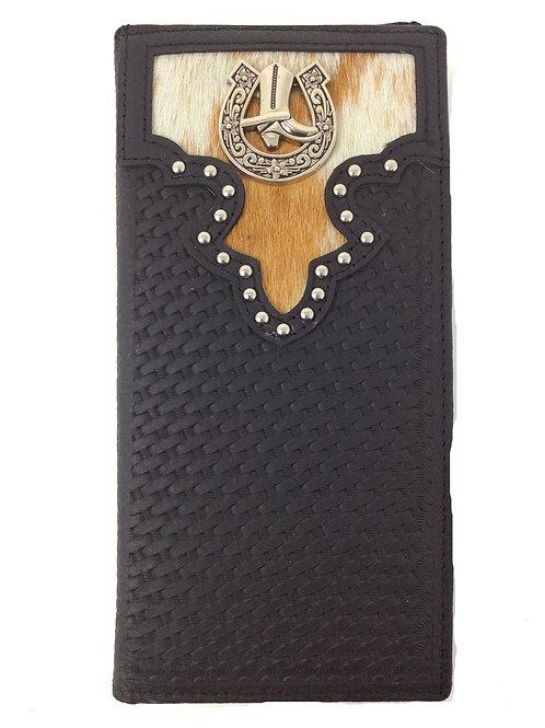 Cow Fur Genuine Leather Basketweave Cowboy Boots Mens Bifold Wallet In Black