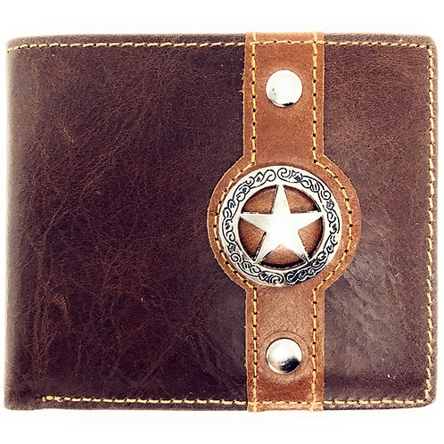 Men Brown Texas Star Concho Bi-fold Small Hipster Slim Leather Coin Wallet