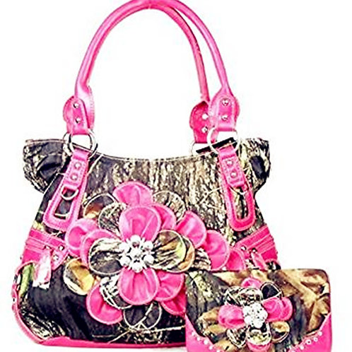 Western Pink Camouflage Flower Rhinestone Handbag Purse Large Wallet