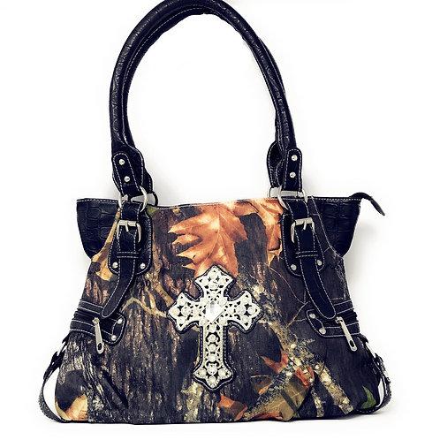 Premium Rhinestone Camou Cross Womens Handbag In Black