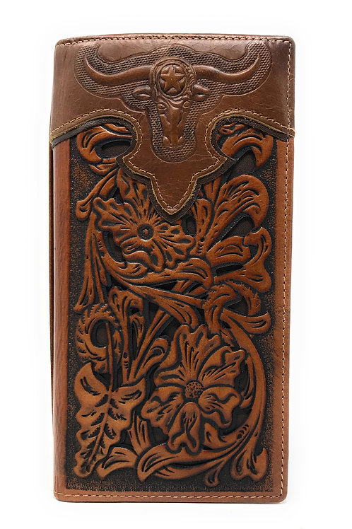 Western Genuine Leather Longhorn Tooled Laser Cut Men's Long Bifold Wallet in 6