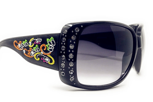Womens Embroidered Flora Sunglasses With Rhinestone UV400 PC Lens