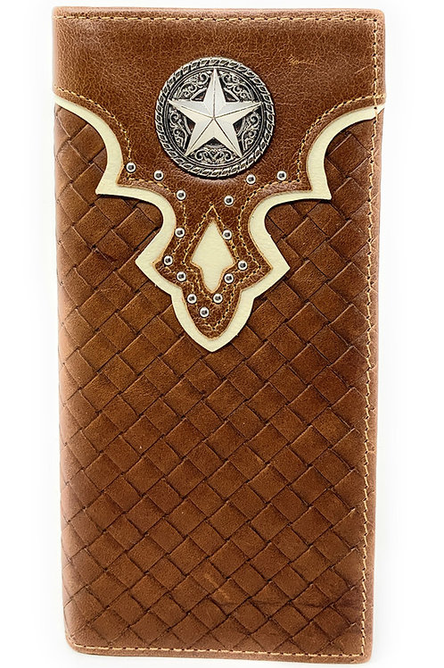 Genuine Leather Basketweave Star Metal Concho Mens Long Bifold Wallet