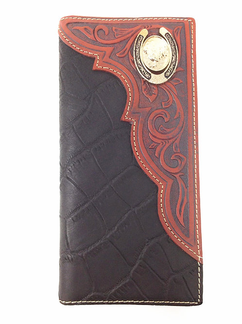 Premium Genuine Leather Rooster Mens Long Wallet Checkbook in 2 Colors