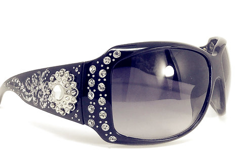Womens Floral Sunflower Concho Rhinestone Sunglasses With UV 400 Lens