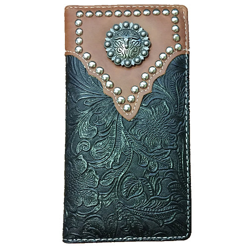 Longhorn Men's Collection Concho Tooled Leather Wallet, Extra Checkbook. Coffee